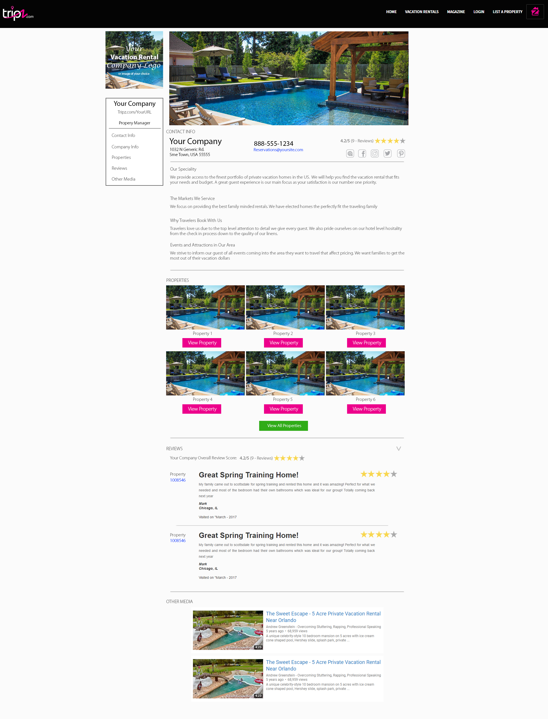 Branded Profile Page on Tripz.com