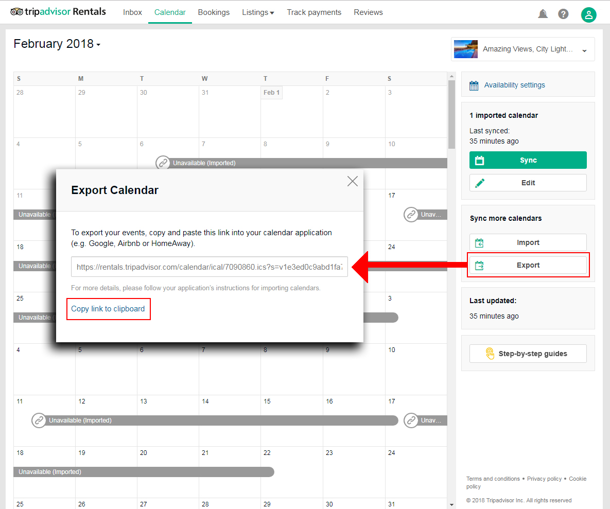 How to Export calendar from TripAdvisor